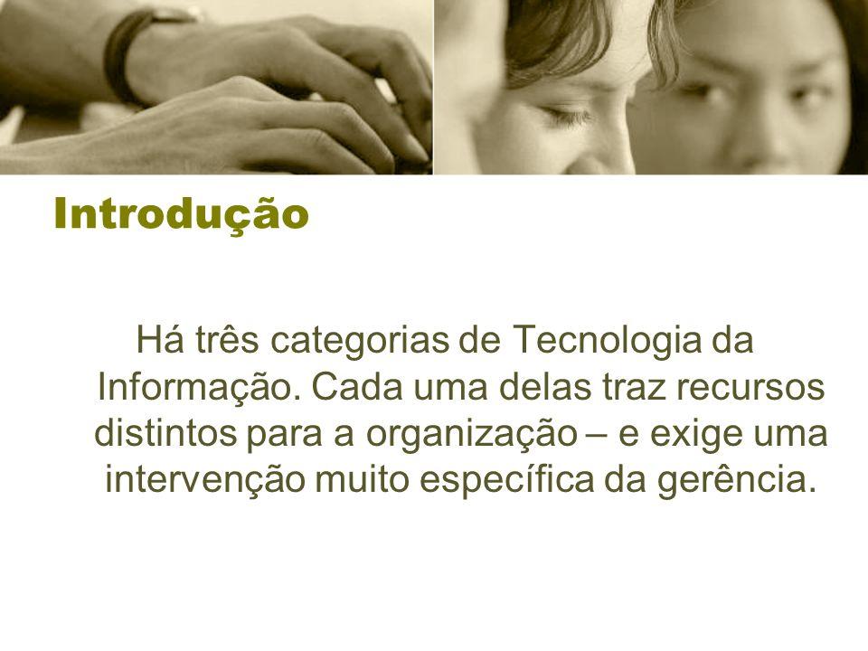 Introdução Há três categorias de Tecnologia da Informação.
