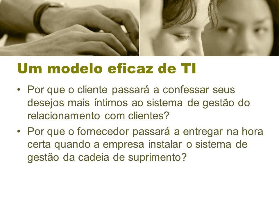 Um modelo eficaz de TI Por que o cliente passará a confessar seus desejos mais íntimos ao sistema de gestão do relacionamento com clientes.