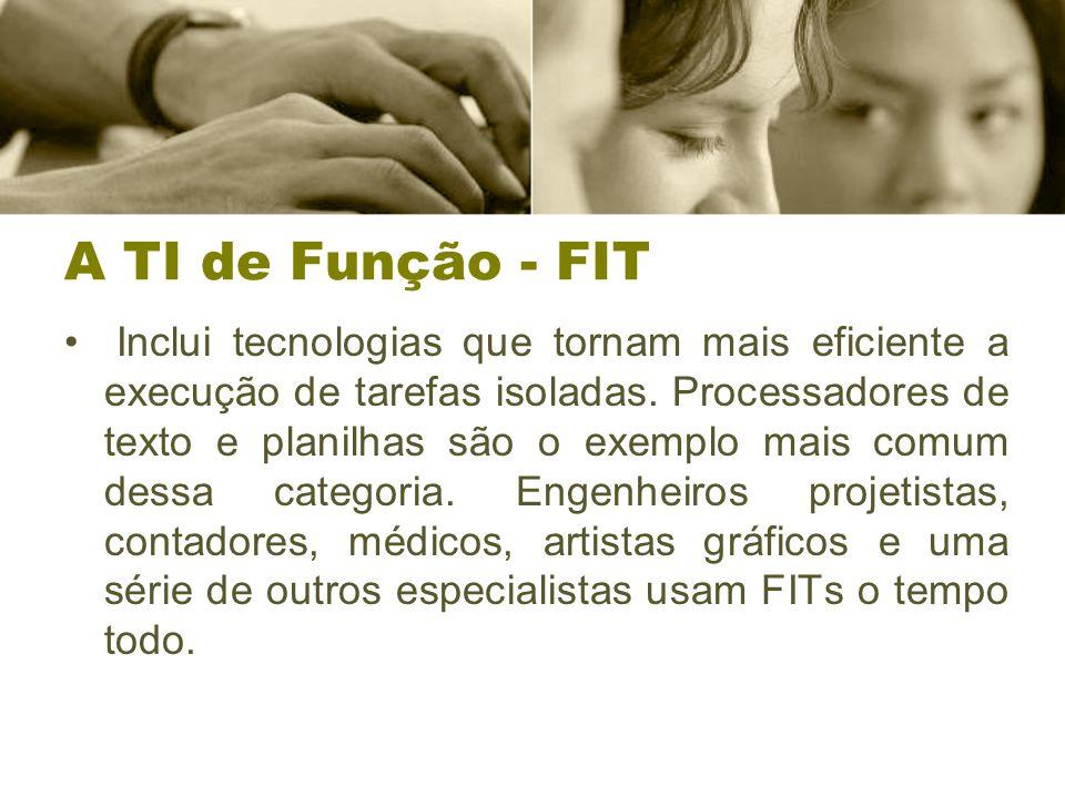 A TI de Função - FIT Inclui tecnologias que tornam mais eficiente a execução de tarefas isoladas.