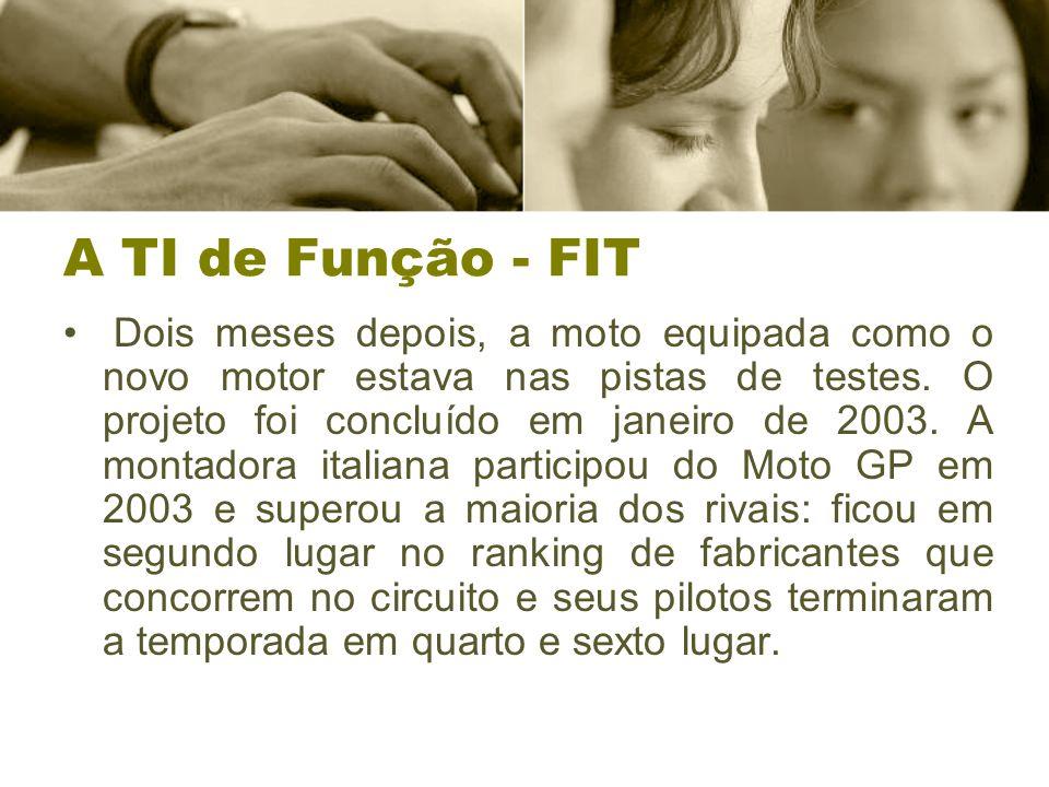 A TI de Função - FIT Dois meses depois, a moto equipada como o novo motor estava nas pistas de testes.