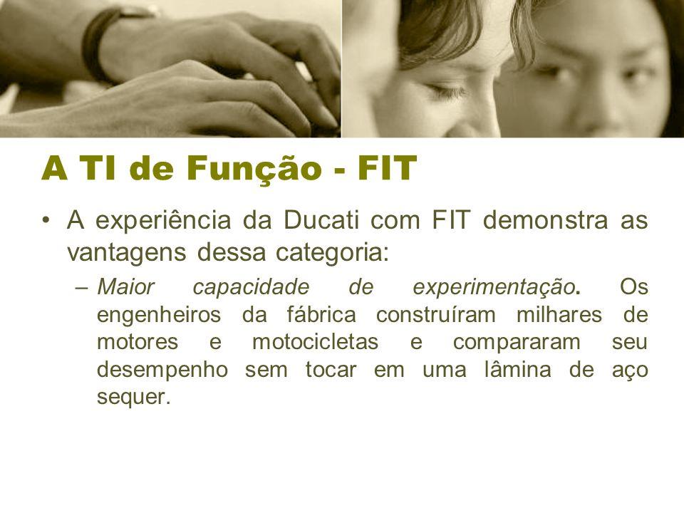 A TI de Função - FIT A experiência da Ducati com FIT demonstra as vantagens dessa categoria: –Maior capacidade de experimentação.
