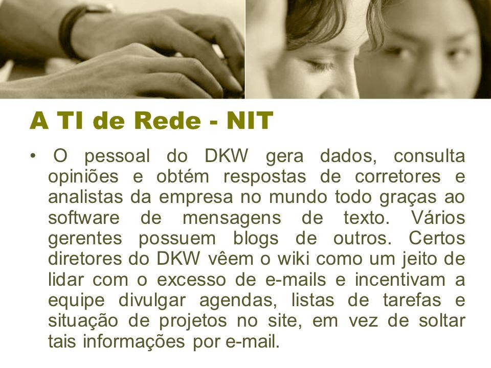A TI de Rede - NIT O pessoal do DKW gera dados, consulta opiniões e obtém respostas de corretores e analistas da empresa no mundo todo graças ao software de mensagens de texto.