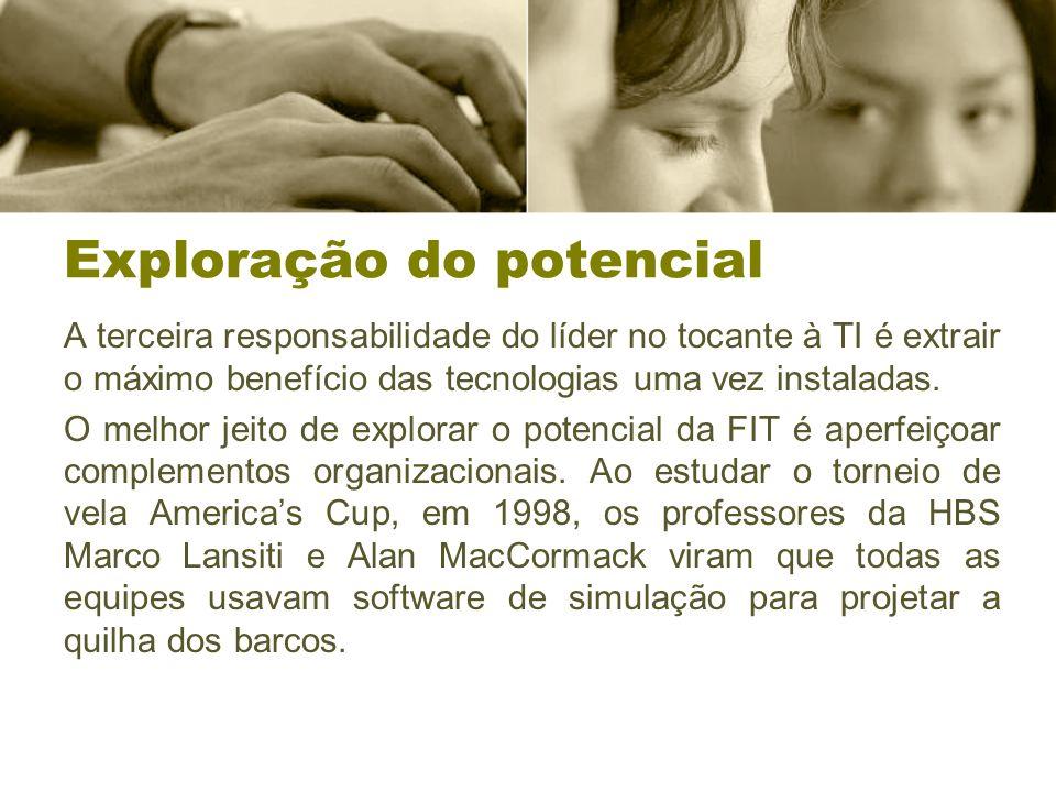 Exploração do potencial A terceira responsabilidade do líder no tocante à TI é extrair o máximo benefício das tecnologias uma vez instaladas.