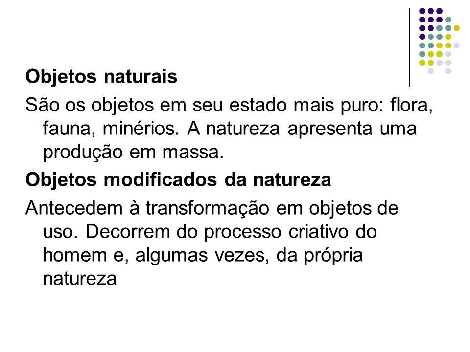 Objetos naturais São os objetos em seu estado mais puro: flora, fauna, minérios.