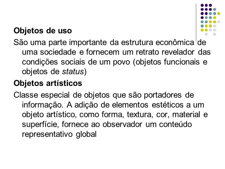 Objetos de uso São uma parte importante da estrutura econômica de uma sociedade e fornecem um retrato revelador das condições sociais de um povo (objetos funcionais e objetos de status) Objetos artísticos Classe especial de objetos que são portadores de informação.