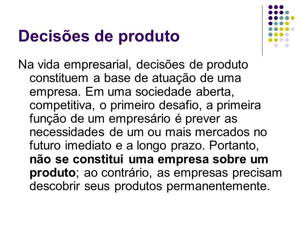 Decisões de produto Na vida empresarial, decisões de produto constituem a base de atuação de uma empresa.