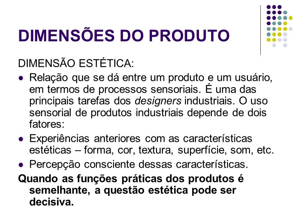 DIMENSÕES DO PRODUTO DIMENSÃO ESTÉTICA: Relação que se dá entre um produto e um usuário, em termos de processos sensoriais.