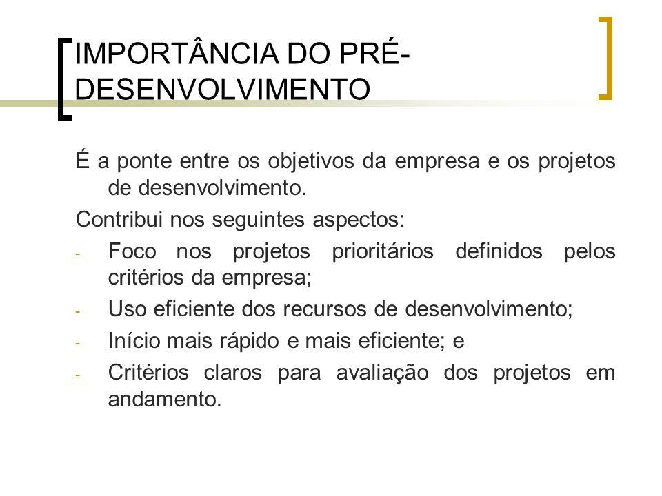 IMPORTÂNCIA DO PRÉ- DESENVOLVIMENTO É a ponte entre os objetivos da empresa e os projetos de desenvolvimento.