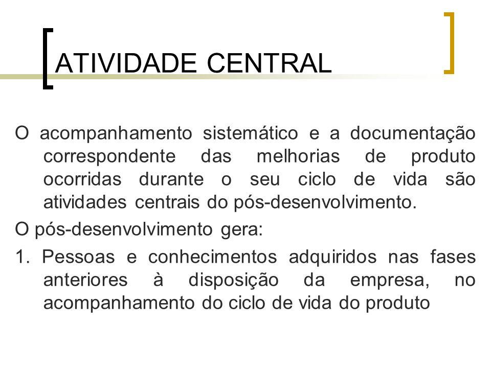 ATIVIDADE CENTRAL O acompanhamento sistemático e a documentação correspondente das melhorias de produto ocorridas durante o seu ciclo de vida são atividades centrais do pós-desenvolvimento.