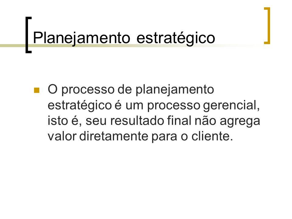 Planejamento estratégico O processo de planejamento estratégico é um processo gerencial, isto é, seu resultado final não agrega valor diretamente para o cliente.