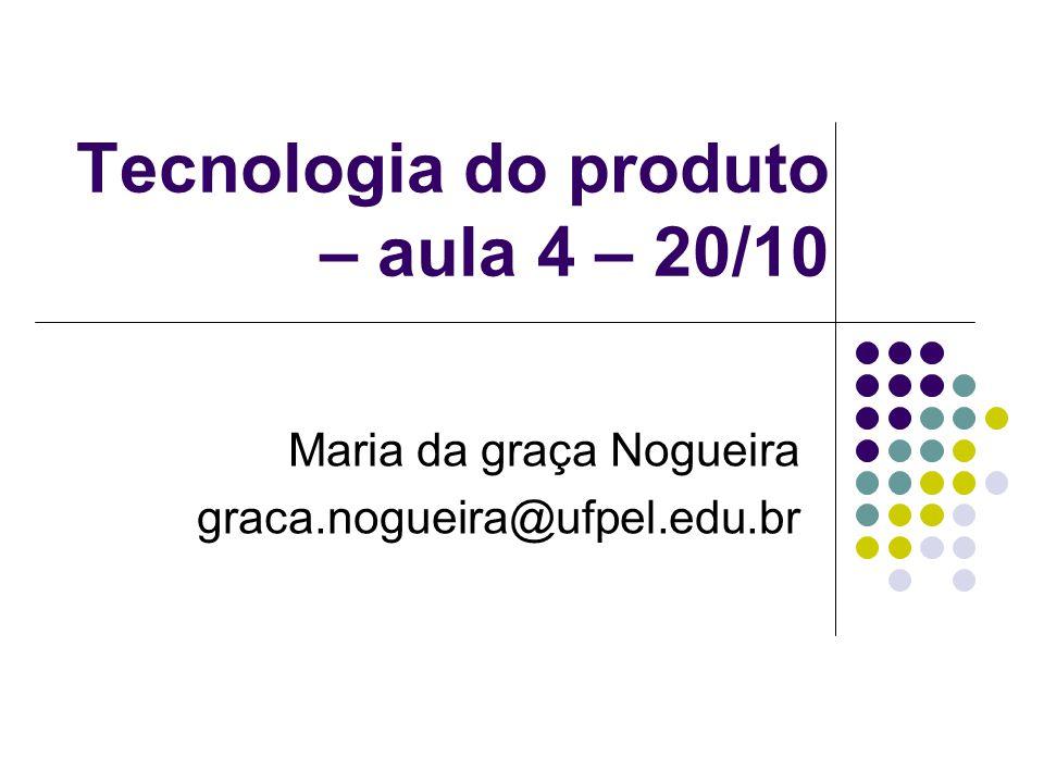 Tecnologia do produto – aula 4 – 20/10 Maria da graça Nogueira graca.nogueira@ufpel.edu.br