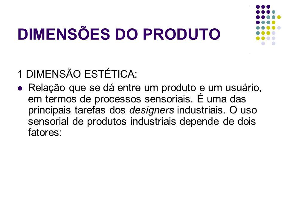 DIMENSÕES DO PRODUTO 1 DIMENSÃO ESTÉTICA: Relação que se dá entre um produto e um usuário, em termos de processos sensoriais.