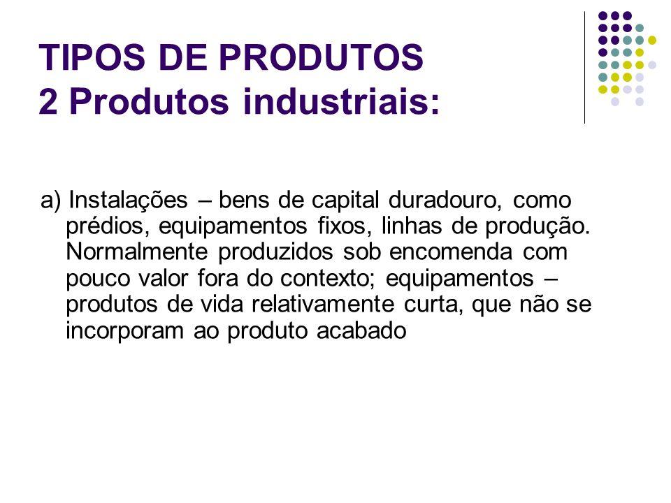 TIPOS DE PRODUTOS 2 Produtos industriais: a) Instalações – bens de capital duradouro, como prédios, equipamentos fixos, linhas de produção.