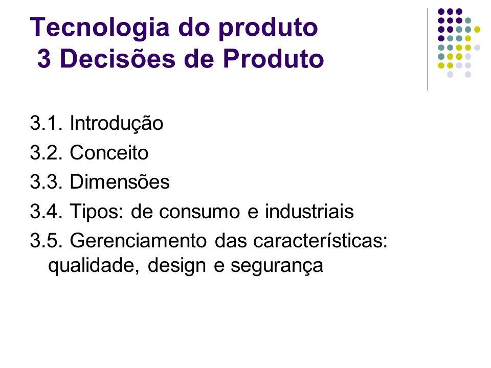 Tecnologia do produto 3 Decisões de Produto 3.1.Introdução 3.2.
