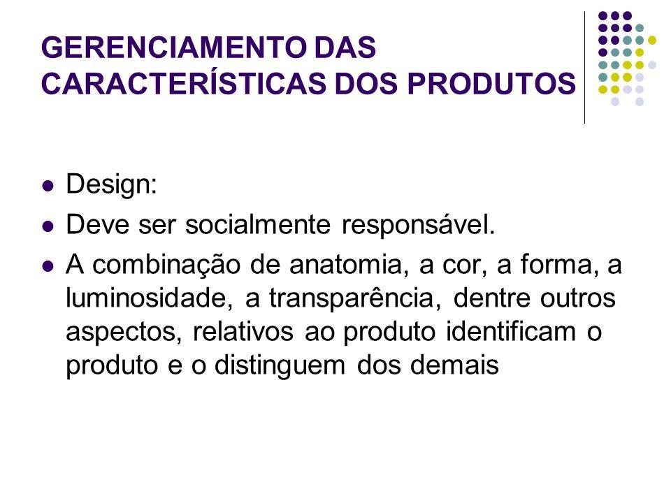 GERENCIAMENTO DAS CARACTERÍSTICAS DOS PRODUTOS Design: Deve ser socialmente responsável.