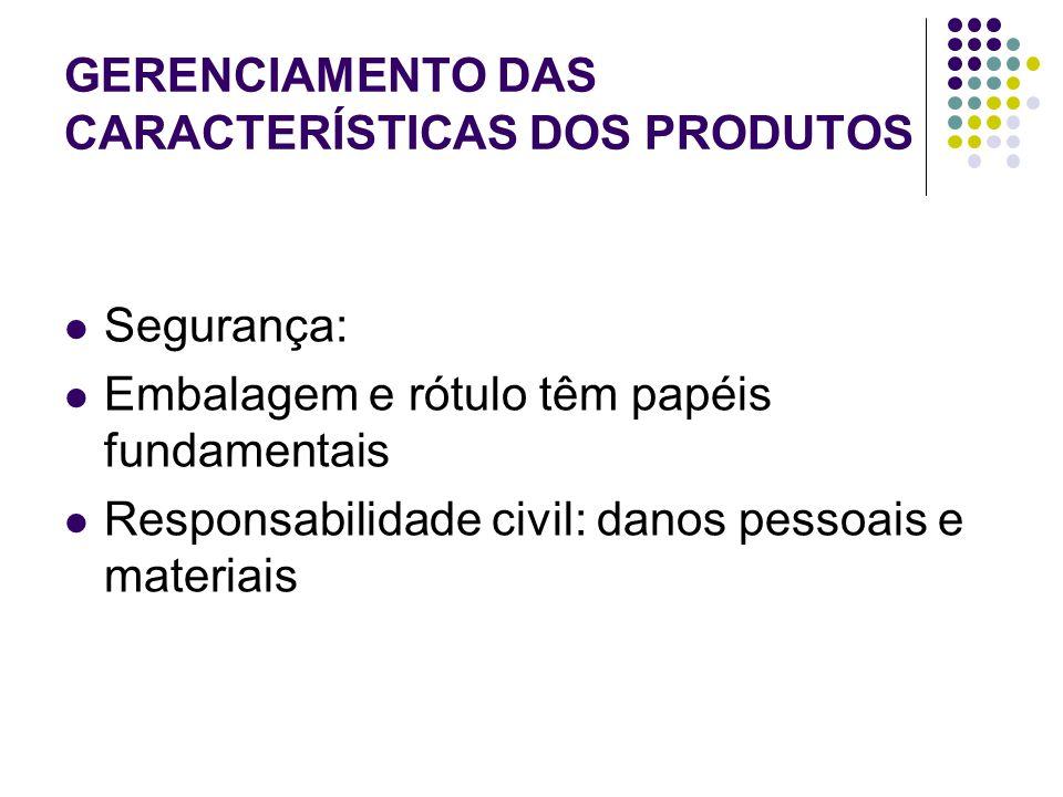 GERENCIAMENTO DAS CARACTERÍSTICAS DOS PRODUTOS Segurança: Embalagem e rótulo têm papéis fundamentais Responsabilidade civil: danos pessoais e materiais