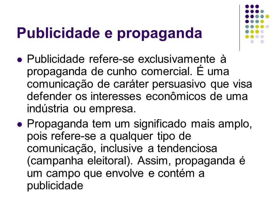 Publicidade e propaganda Publicidade refere-se exclusivamente à propaganda de cunho comercial.