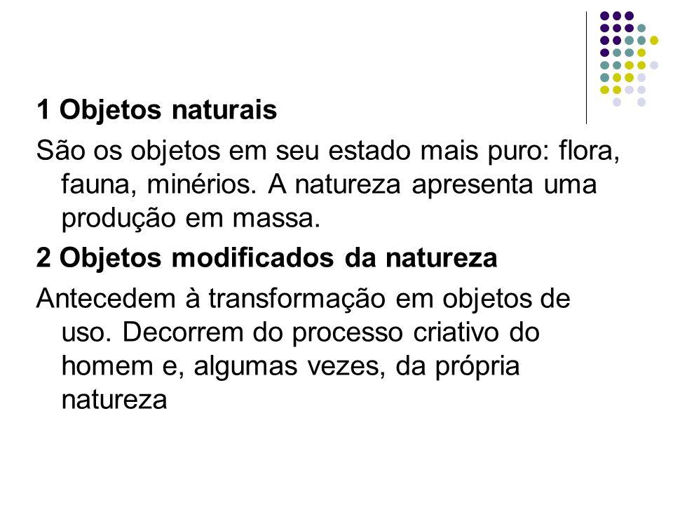 1 Objetos naturais São os objetos em seu estado mais puro: flora, fauna, minérios.
