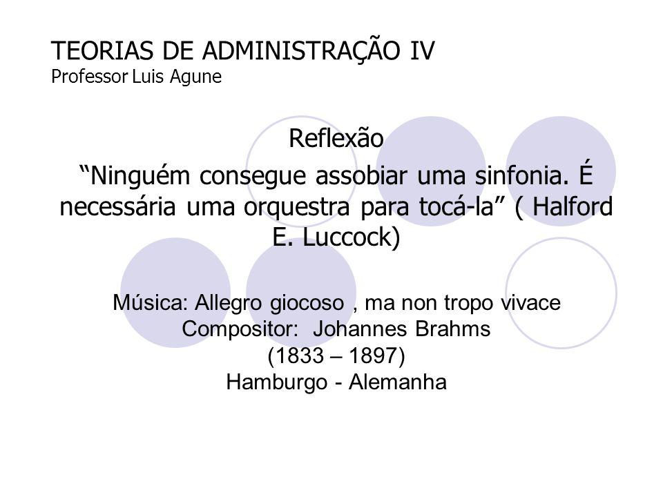 """TEORIAS DE ADMINISTRAÇÃO IV Professor Luis Agune Reflexão """"Ninguém consegue assobiar uma sinfonia. É necessária uma orquestra para tocá-la"""" ( Halford"""