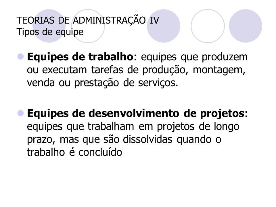 TEORIAS DE ADMINISTRAÇÃO IV Tipos de equipe Equipes de trabalho: equipes que produzem ou executam tarefas de produção, montagem, venda ou prestação de