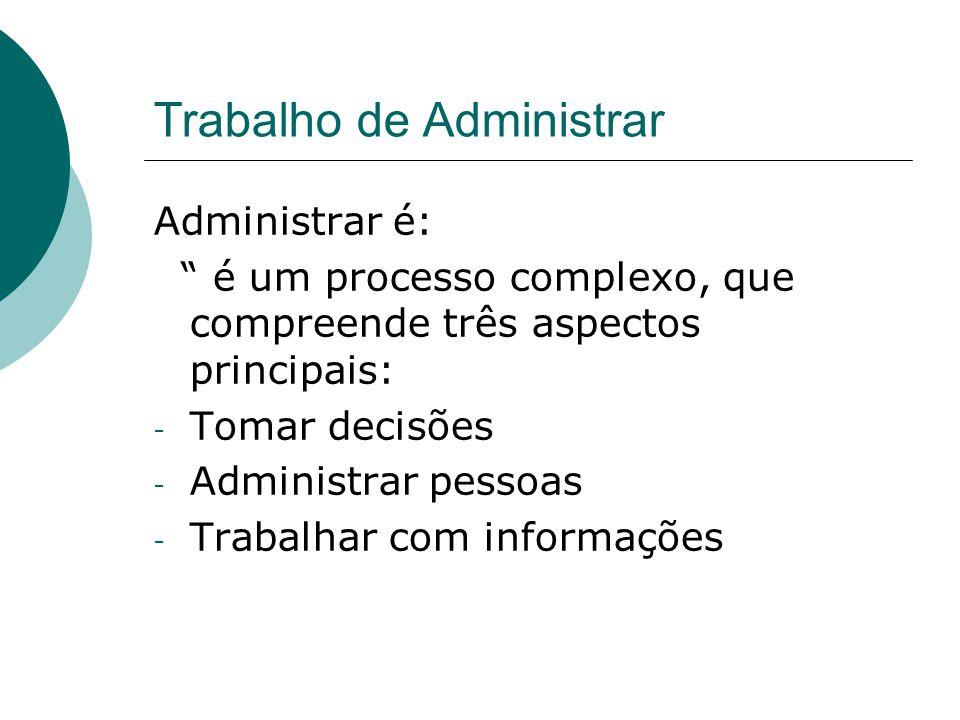 """Trabalho de Administrar Administrar é: """" é um processo complexo, que compreende três aspectos principais: - Tomar decisões - Administrar pessoas - Tra"""