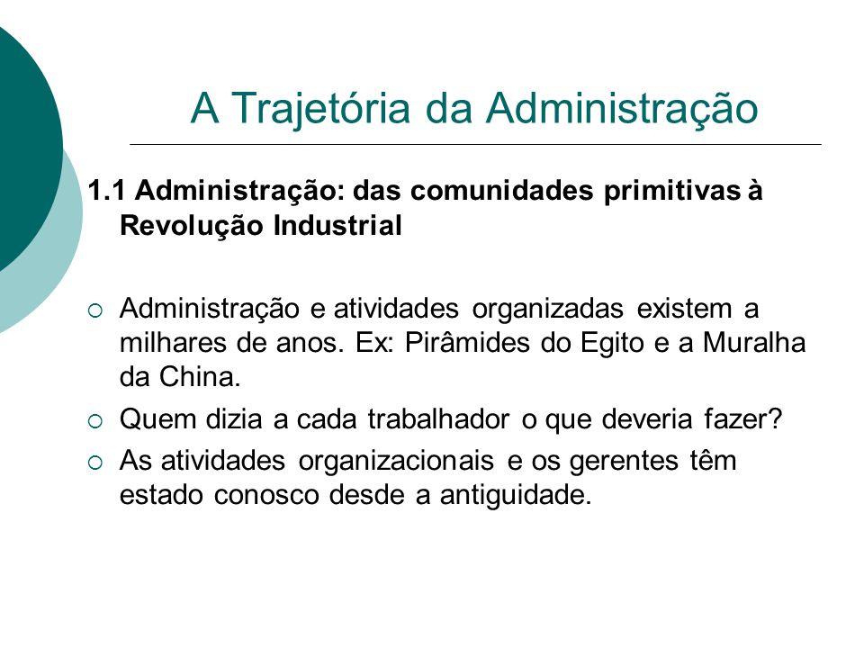 A Trajetória da Administração 1.1 Administração: das comunidades primitivas à Revolução Industrial  Administração e atividades organizadas existem a