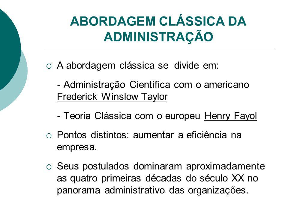 ABORDAGEM CLÁSSICA DA ADMINISTRAÇÃO  A abordagem clássica se divide em: - Administração Científica com o americano Frederick Winslow Taylor - Teoria