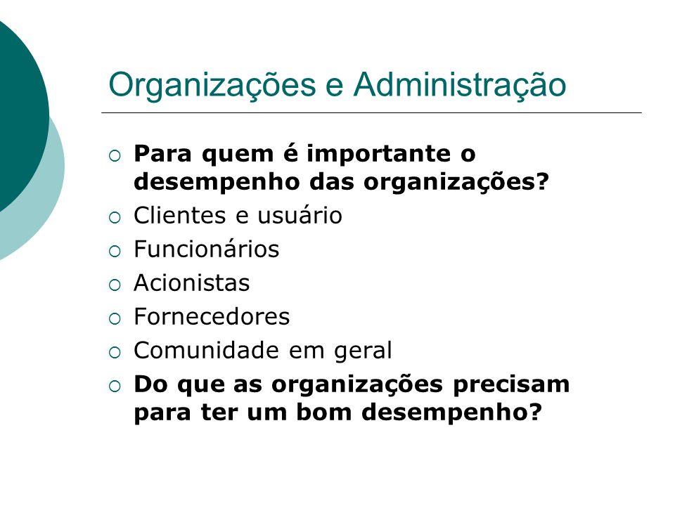 Organizações e Administração  Para quem é importante o desempenho das organizações?  Clientes e usuário  Funcionários  Acionistas  Fornecedores 