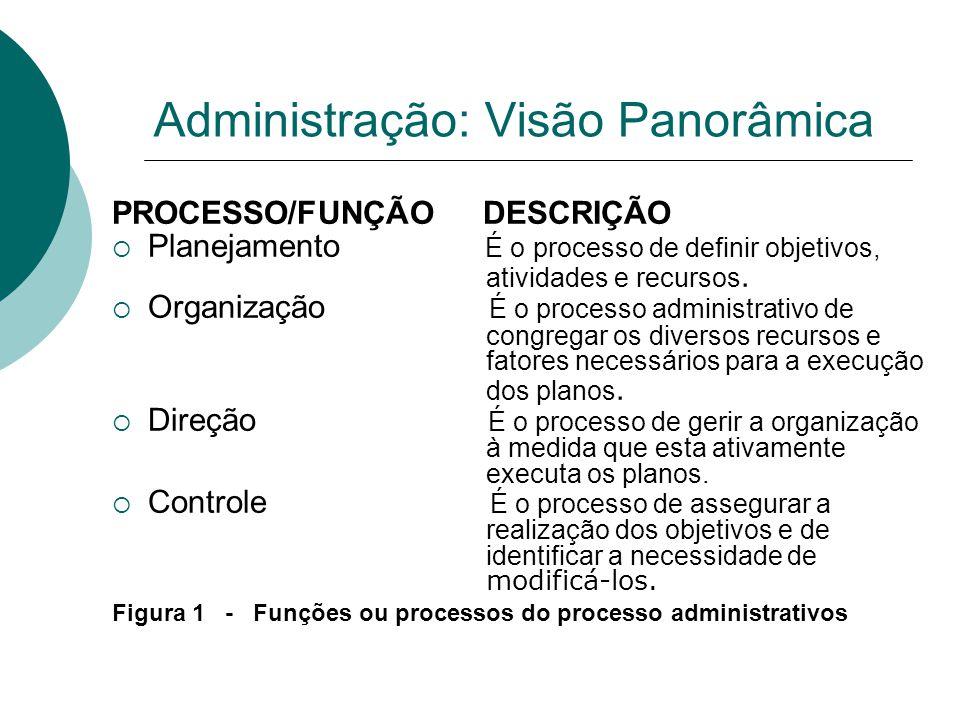 Administração: Visão Panorâmica PROCESSO/FUNÇÃO DESCRIÇÃO  Planejamento É o processo de definir objetivos, atividades e recursos.  Organização É o p