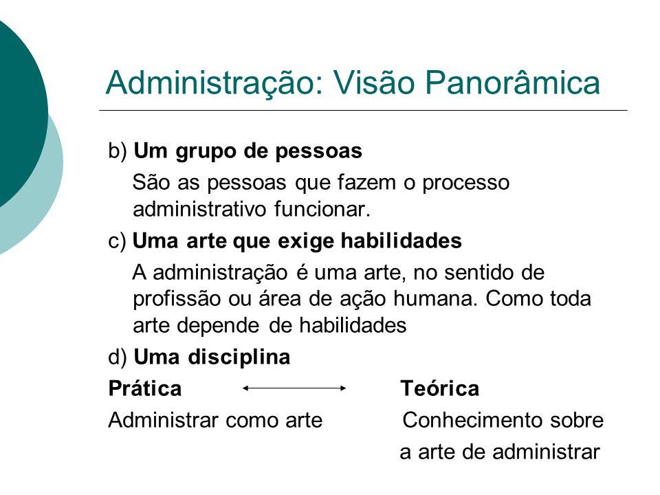 Administração: Visão Panorâmica b) Um grupo de pessoas São as pessoas que fazem o processo administrativo funcionar. c) Uma arte que exige habilidades