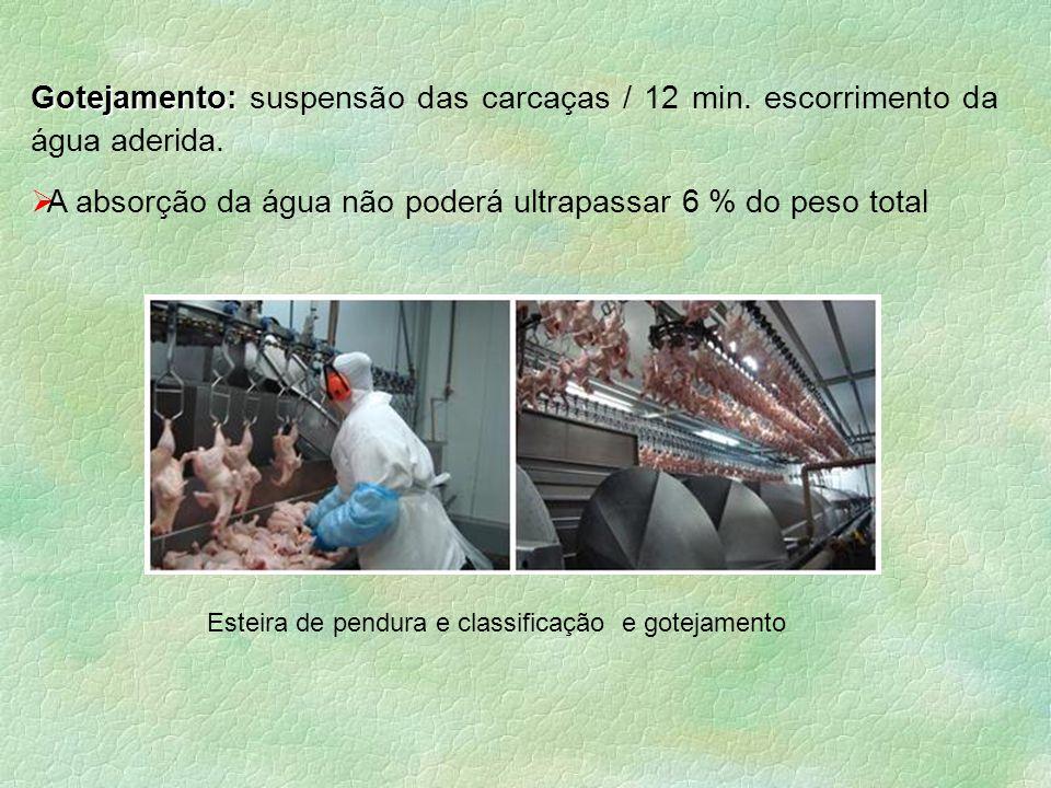 Gotejamento: Gotejamento: suspensão das carcaças / 12 min. escorrimento da água aderida.  A absorção da água não poderá ultrapassar 6 % do peso total