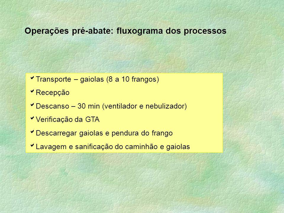 Operações pré-abate: fluxograma dos processos  Transporte – gaiolas (8 a 10 frangos)  Recepção  Descanso – 30 min (ventilador e nebulizador)  Veri