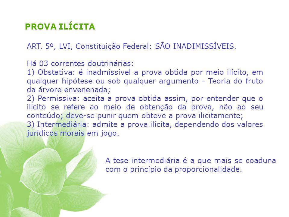PROVA ILÍCITA ART.5º, LVI, Constituição Federal: SÃO INADIMISSÍVEIS.