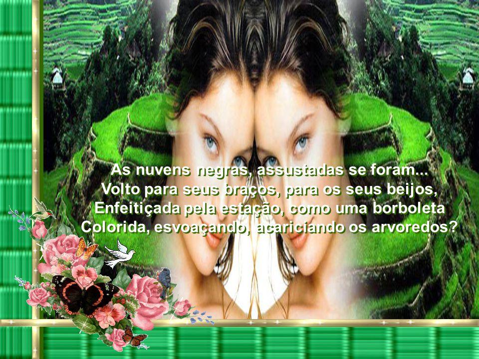 Plantas se vestem de esperança, rosas Desabrocham cor de sangue, cor de vida. Sons, odores, vagalumes em plena festa... Há de vingar o amor, de cicatr