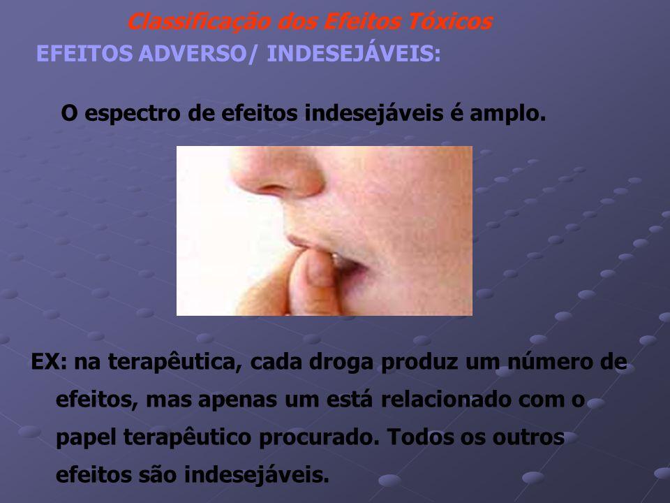 Classificação dos Efeitos Tóxicos EFEITOS ADVERSO/ INDESEJÁVEIS: O espectro de efeitos indesejáveis é amplo.