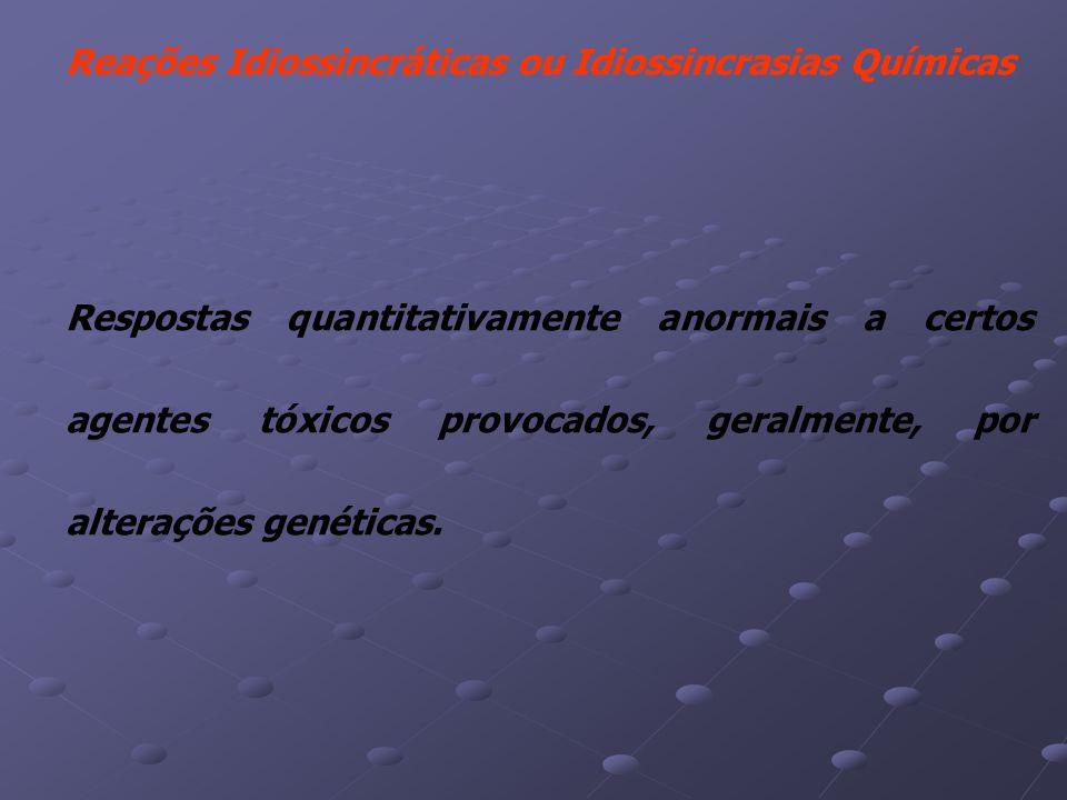Reações Idiossincráticas ou Idiossincrasias Químicas Respostas quantitativamente anormais a certos agentes tóxicos provocados, geralmente, por alterações genéticas.