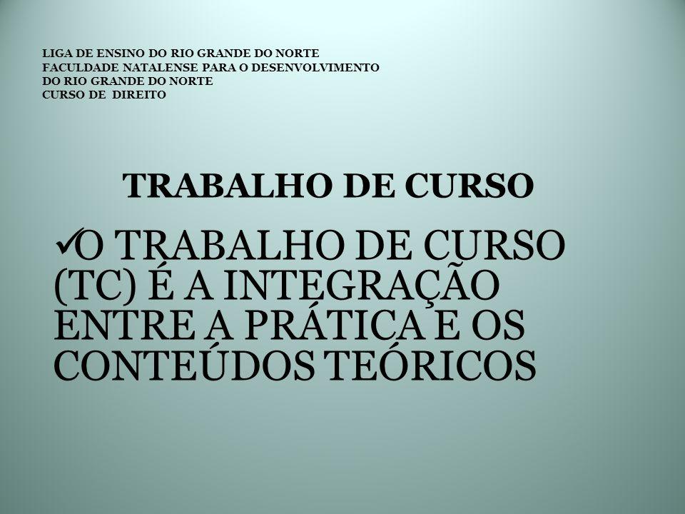 LIGA DE ENSINO DO RIO GRANDE DO NORTE FACULDADE NATALENSE PARA O DESENVOLVIMENTO DO RIO GRANDE DO NORTE CURSO DE DIREITO TRABALHO DE CURSO O TRABALHO