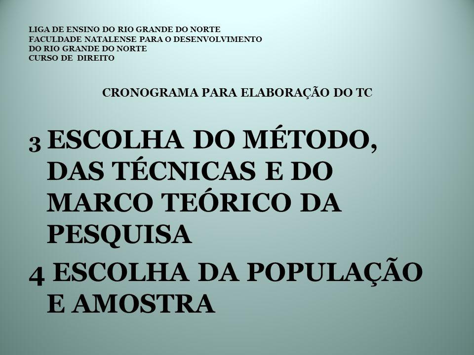 LIGA DE ENSINO DO RIO GRANDE DO NORTE FACULDADE NATALENSE PARA O DESENVOLVIMENTO DO RIO GRANDE DO NORTE CURSO DE DIREITO CRONOGRAMA PARA ELABORAÇÃO DO