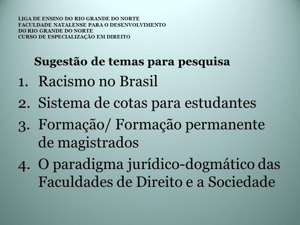Sugestão de temas para pesquisa 1.Racismo no Brasil 2.Sistema de cotas para estudantes 3.Formação/ Formação permanente de magistrados 4.O paradigma ju