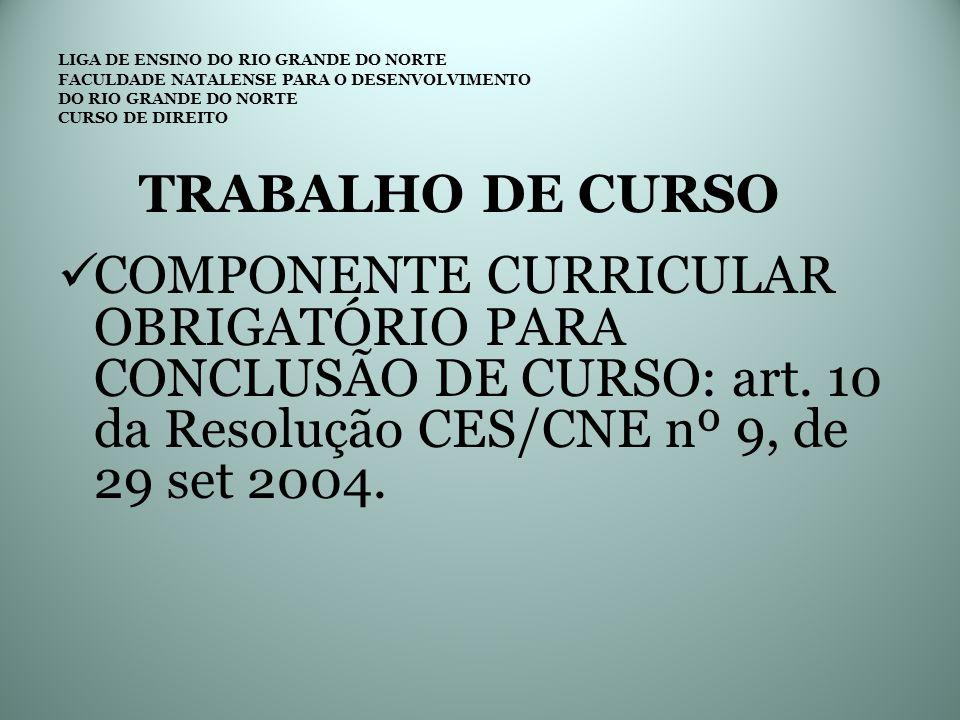 LIGA DE ENSINO DO RIO GRANDE DO NORTE FACULDADE NATALENSE PARA O DESENVOLVIMENTO DO RIO GRANDE DO NORTE CURSO DE DIREITO CRONOGRAMA PARA ELABORAÇÃO DO TC 5 ELABORAÇÃO DO PROJETO E ORÇAMENTO 6 ELABORAÇÃODE INSTRUMENTOS DE COLETA DE DADOS