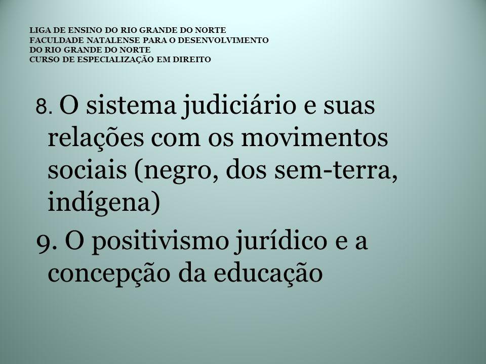 8. O sistema judiciário e suas relações com os movimentos sociais (negro, dos sem-terra, indígena) 9. O positivismo jurídico e a concepção da educação