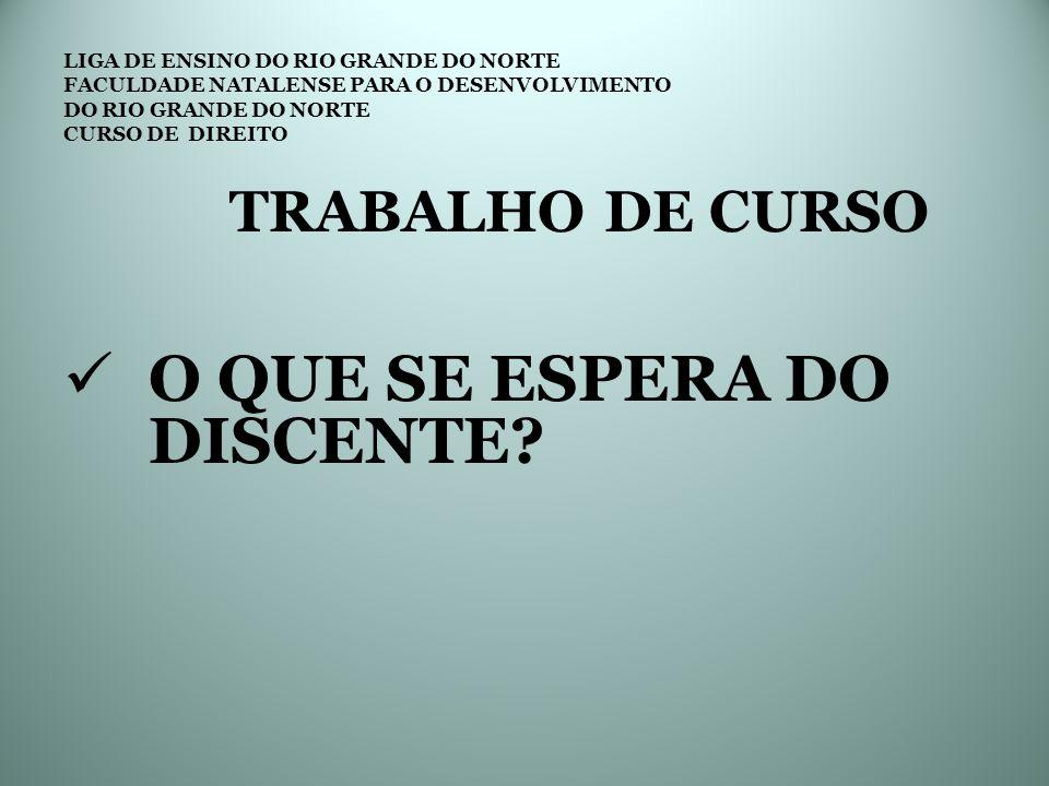 LIGA DE ENSINO DO RIO GRANDE DO NORTE FACULDADE NATALENSE PARA O DESENVOLVIMENTO DO RIO GRANDE DO NORTE CURSO DE DIREITO TRABALHO DE CURSO DEMOSTRAÇÃO DOS CONHECIMENTOS ADQUIRIDOS NO CURSO DOMÍNIO DE METODOLOGIA DA PESQUISA DOMÍNIO DAS TÉCNICAS PARA ELABORAÇÃO DO TC