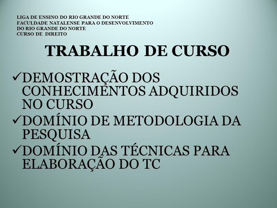 LIGA DE ENSINO DO RIO GRANDE DO NORTE FACULDADE NATALENSE PARA O DESENVOLVIMENTO DO RIO GRANDE DO NORTE CURSO DE DIREITO TRABALHO DE CURSO QUAL O TIPO DE TRABALHO A SER ELABORADO .
