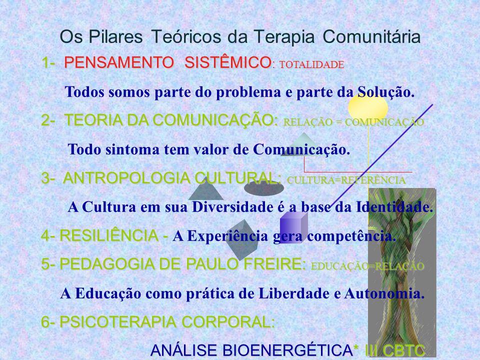 Os Pilares Teóricos da Terapia Comunitária 1- PENSAMENTO SISTÊMICO : TOTALIDADE Todos somos parte do problema e parte da Solução.