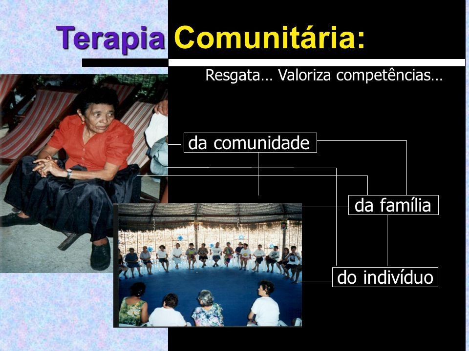 Resgata… Valoriza competências… da família da comunidade do indivíduo Terapia Terapia Comunitária: