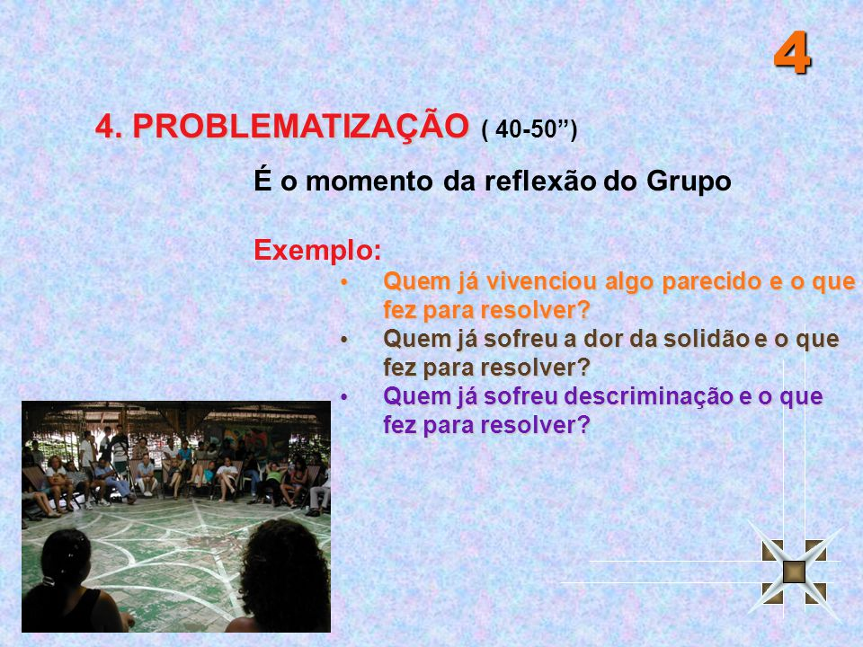 """4 4. PROBLEMATIZAÇÃO ( 40-50"""") É o momento da reflexão do Grupo Exemplo: Quem já vivenciou algo parecido e o que fez para resolver? Quem já vivenciou"""