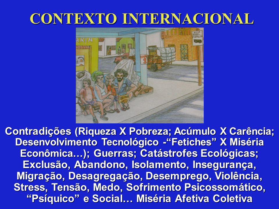 Contradições (Riqueza X Pobreza; Acúmulo X Carência; Desenvolvimento Tecnológico - Fetiches X Miséria Econômica…); Guerras;Catástrofes Ecológicas; Exclusão, Abandono, Isolamento, Insegurança, Migração, Desagregação, Desemprego, Violência, Stress, Tensão, Medo, Sofrimento Psicossomático, Psíquico e Social… Miséria Afetiva Coletiva Contradições (Riqueza X Pobreza; Acúmulo X Carência; Desenvolvimento Tecnológico - Fetiches X Miséria Econômica…); Guerras; Catástrofes Ecológicas; Exclusão, Abandono, Isolamento, Insegurança, Migração, Desagregação, Desemprego, Violência, Stress, Tensão, Medo, Sofrimento Psicossomático, Psíquico e Social… Miséria Afetiva Coletiva CONTEXTO INTERNACIONAL