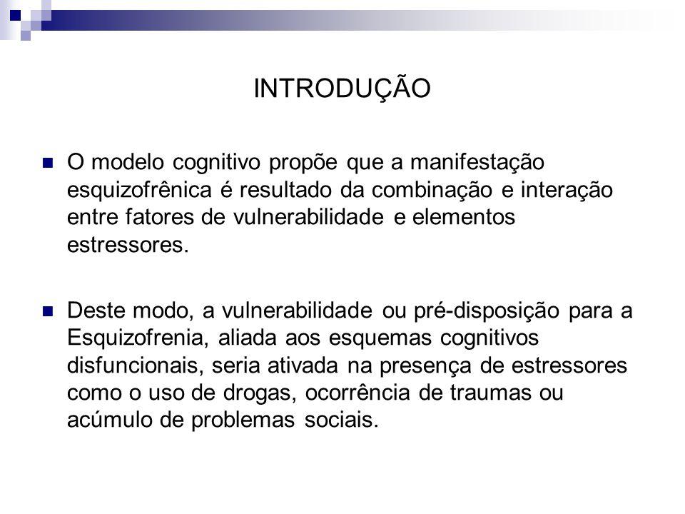 INTRODUÇÃO O modelo cognitivo propõe que a manifestação esquizofrênica é resultado da combinação e interação entre fatores de vulnerabilidade e elemen