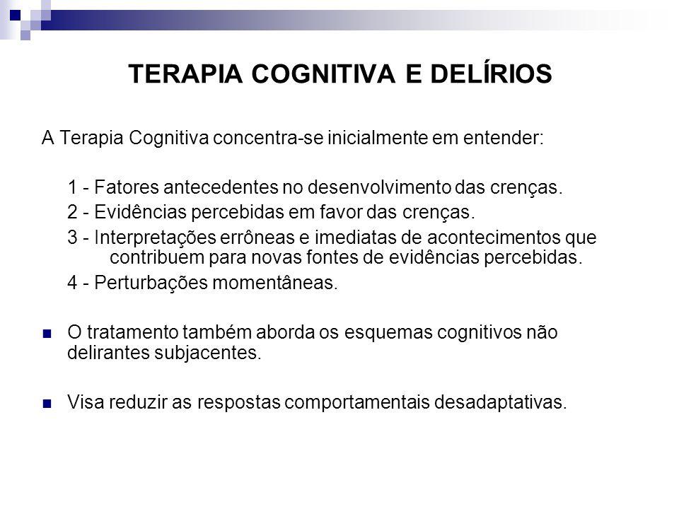TERAPIA COGNITIVA E DELÍRIOS A Terapia Cognitiva concentra-se inicialmente em entender: 1 - Fatores antecedentes no desenvolvimento das crenças. 2 - E