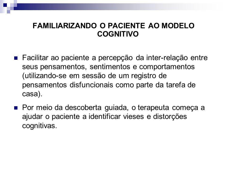 FAMILIARIZANDO O PACIENTE AO MODELO COGNITIVO Facilitar ao paciente a percepção da inter-relação entre seus pensamentos, sentimentos e comportamentos